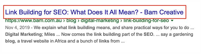 How a Headline will display in Google search results