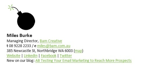 Email signature with blog post