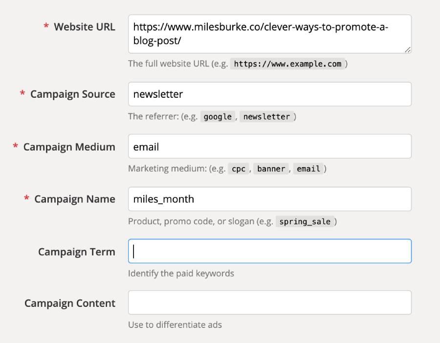 Using Google UTM Builder to track clicks