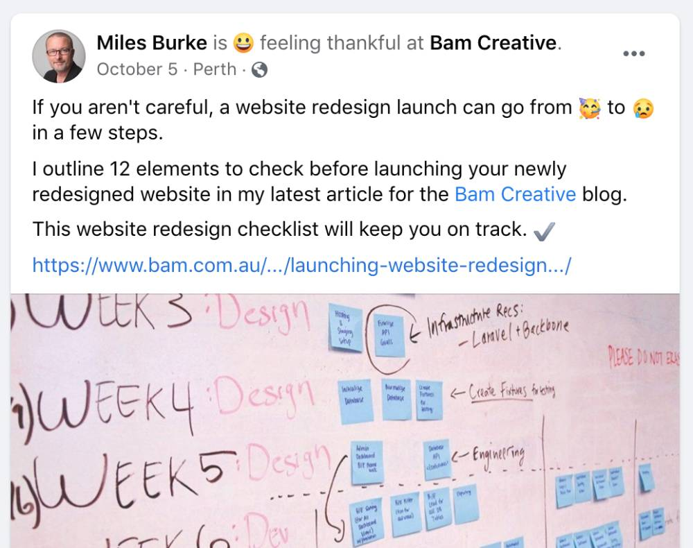 Blog post promotion channel using Facebook
