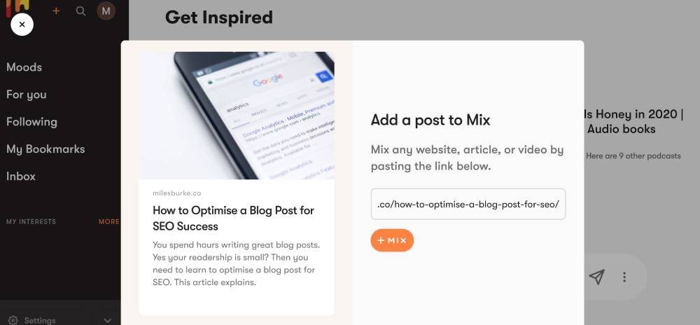 Promote a blog post with Mix