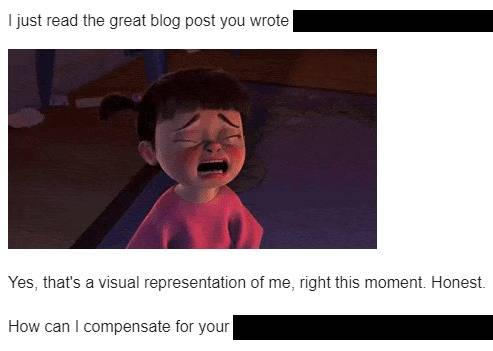 Crying GIF in email pitch